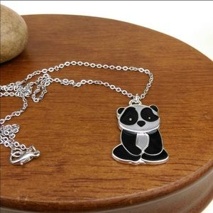 Panda Charm And Silver Tone Necklace